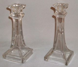 Vintage Pair Etched Glass Candleholders - Classic & Elegant.  7.  5