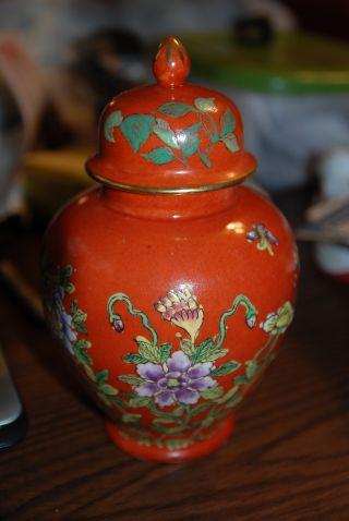 H - 1 Japanese Porcelain Wares Ginger Jar Urn Floral Design Hand Decorated In Hong photo