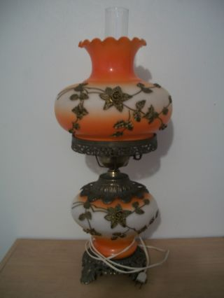 Antique/vintage Lamp Orange And White With Metal Flower Decoration photo