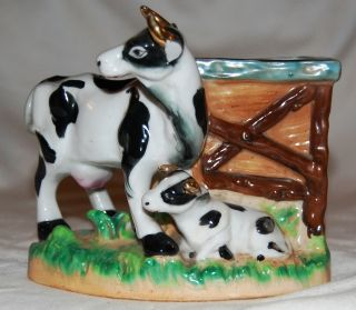 Vintage Japanese Yoko Boeki Porcelain Cow & Calf Planter Hand Painted photo