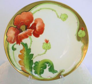 Limoges Crown Coronet Hand Painted Red Poppy Gold Plate 9 1/2 Signed Lamour photo