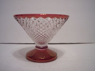 Vintage Westmoreland Wakefield English Hobnail Ruby Footed Trinket Candy Dish photo