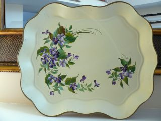 Cottage Sweet Vtg.  Hand - Painted Toleware Tray,  (violet ' S) Nashco Products,  Ny photo
