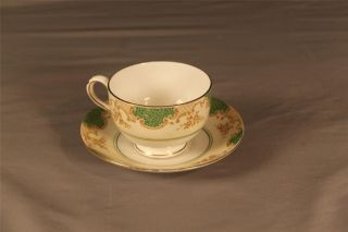 19th Cnty Staffordshire Hand Painted Decorative Porcelain Cup Saucer Numbered photo