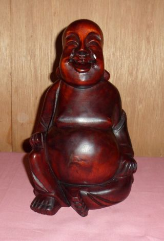 Antique Hand Carved Wood Smiling Buddha,  10