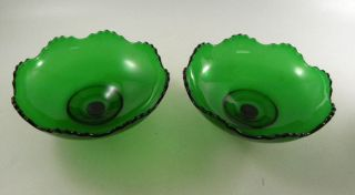 2 Emerald Green Epergnettes - Glass Inserts Change Candles Into Vases photo