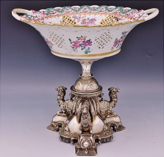 Amazing Large Victorian Figural Camels Silver Plate & Porcelain Centerpiece Bowl photo