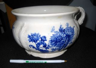 Buffalo Pottery Semi - Vitreous Chamber Pot - Blue Chrysanthemum On White No Chips photo
