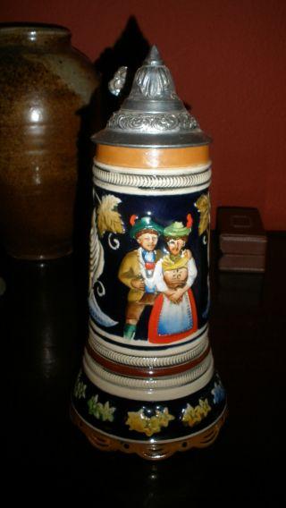 Musical German Beer Stein Edelweiss Vintage & Aesthetic photo