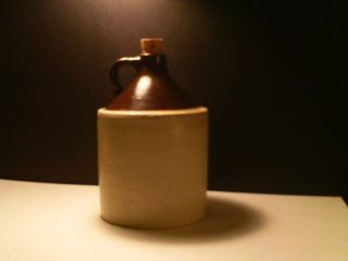 Antique Primitive White And Brown Stoneware Crock Tall Whiskey Jug photo