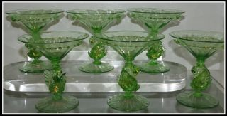 Unusual Set Of 6 Antique Green Swan Venetian Glass Martini Cocktail Stems Nr photo