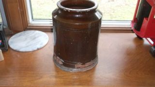 9 Inch Tall Antique Brown Crock photo