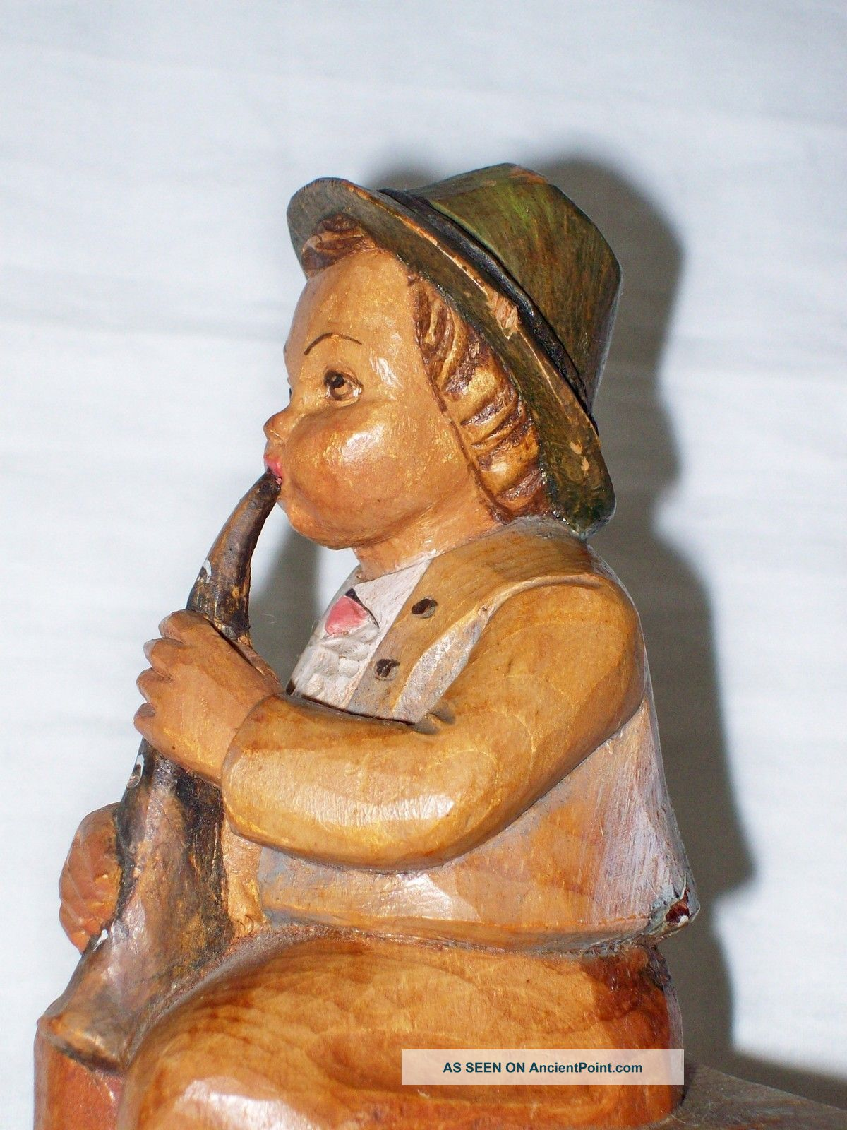Wood Carved Boy Musician Lucerne,  Switzerland P.  Maeder Carved Figures photo