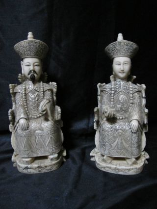 Antique Hand Carved Ox Bone Polychrome Chinese Emperor & Empress 19th.  C.  Signed photo