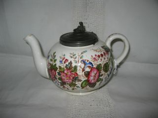 Antique Teapot Pewter Lid Morning Glories 1800 ' S photo