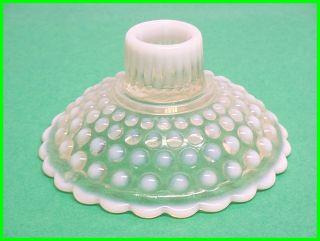 Vintage Opalescent Hobnail Moonstone Hocking Glass Co.  Handle Candle Holder photo