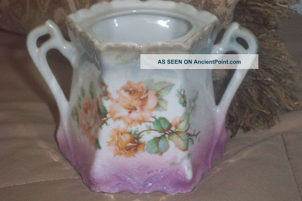 Antique Germany German Porcelain Sugar Bowl Marked Numbered Roses Creamers & Sugar Bowls photo
