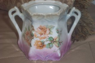 Antique Germany German Porcelain Sugar Bowl Marked Numbered Roses photo
