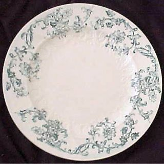 19c Victorian English Blue Transfer Floral Scroll Dessert Plate photo