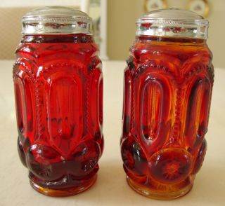 Depression Glass,  Cranberry Color,  Large Salt And Pepper Shakers photo