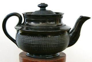 18th - 19th Century Antique Jackfield Black Earthenware Pottery English Teapot photo