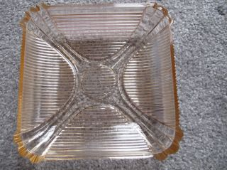 Light Pink Glass Ashtray Candy Dish Striped Art Deco Vintage photo