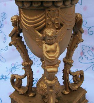 Vintage Gold Gilt Metal Cherub Angel Candelabra Lamp Roccoco French? Xlnt photo