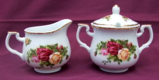 Royal Albert Fine Bone China Sugar Bowl + Milk/creamer Jug - Vgc photo