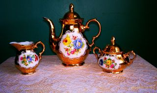 Rare Vintage 24 Kt.  Gold Over Porcelain Stw 5pc Germany Bavaria Coffee Tea Set photo