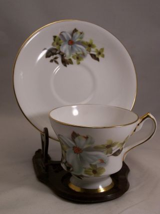 Vintage Bone China Teacup And Saucer With Dogwood Pattern By Windsor Of England photo