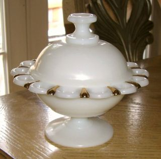 Pedestal Milk Glass/gold Trim Candy Dish_vintage Footed Lace Table Center Bowl photo