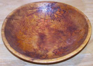 Vintage Primitive Handcarved Wood Bowl Maple Leaf Burn Color Signed 11