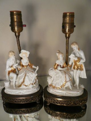 Pair Vintage Antique Gilded Porcelain Courting Couples Table Boudoir Lamps photo