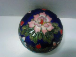 Antique Asian Blue Cloisonne Box With Flower Late 1800 ' S - Early 1900 ' S photo