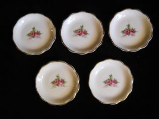 5 Antique China Butter Pats With Roses photo