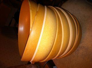 8 Vintage 50 ' S Wooden Cereal Bowls Light & Medium Tone Ellingers Agatized Wood photo