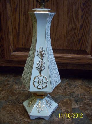 Vintage Lamp Light Green With Gold Trim,  Flowers,  And Leaves. photo