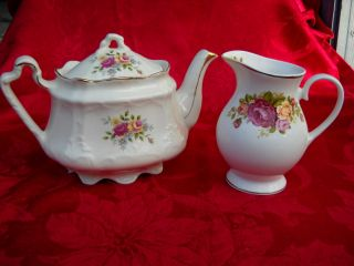 Arthur Wood China Teapot And Creamer photo