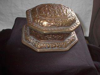 Vintage Gold Color Pottery Trinket Box Signed Mb photo