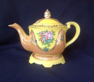 Luster Ware Teapot With Stand Hand Painted Japan 1920 ' S 1930 ' S Collectible photo