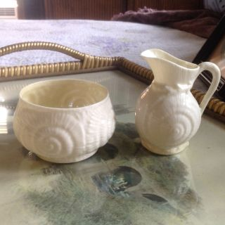Vintage Belleek Shell Sugar And Creamer,  1st Green Mark,  4th Period,  Mid Century photo