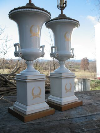 Vintage,  Classical Porcelain Urn Lamps,  White With Gold Trim Decorative Lamps Pair photo