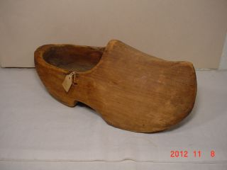 Antique Hand Carved Wood Shoe Holland Dutch Clog Patina photo
