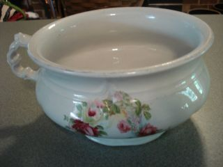 Vintage Porcelain Chamber Pot Floral Design Over 100 Yrs Old photo