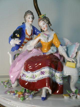 Vintage Antique Dresden Style Porcelain Courting Couple Table Boudoir Lamp photo