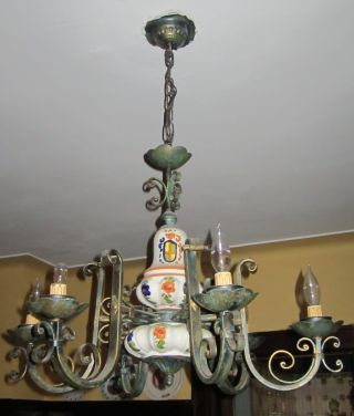 Vintage Chandelier Lamp In Hand Painted Ceramic Made In Italy photo
