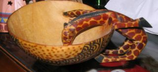 Wood Giraffe Bowl; Made In Kenya photo