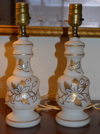 Vintage Bristol Glass Lamps With Gold Designs photo
