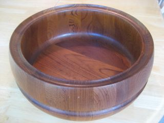 Antique Vintage Teak Bowl Scanform Danish Mid Century Hand Made Denmark photo