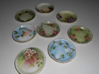 Eight Handpainted Antique Rosenthal Butter Pats,  Nr photo